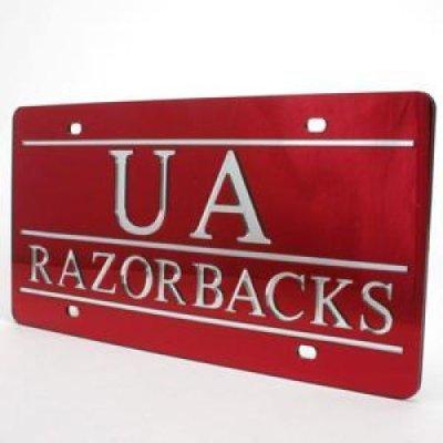 Arkansas Inlaid Acrylic License Plate Quot Ua Razorbacks Quot Red