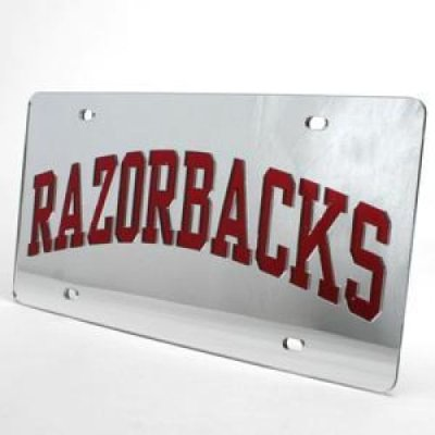 Arkansas Inlaid Acrylic License Plate Quot Razorbacks Quot Silver