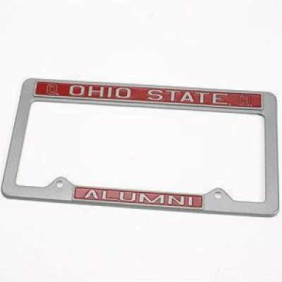 Ohio State Alumni Metal License Plate Frame Pewter Look