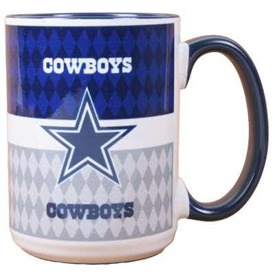 Dallas Cowboys 15oz White Stripe Coffee Mug