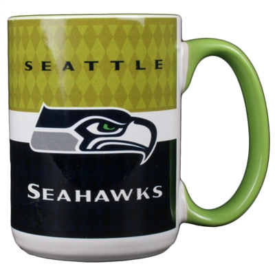 Seattle Seahawks 15oz White Stripe Coffee Mug