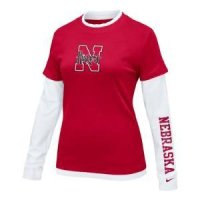 Nebraska Women's L/s College 2-in-1 Tee