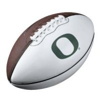 "Oregon Ducks NIke football with the green ""O"" logo"