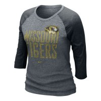 Nike Missouri Tigers Womens 3/4 Burnout Raglan T-shirt