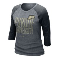 Nike Purdue Boilermakers Womens 3/4 Burnout Raglan T-shirt
