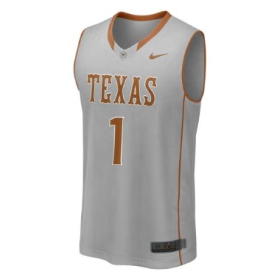 wholesale dealer 989e8 8e791 Nike Texas Longhorns Twill Players Basketball Jersey - #1 Grey