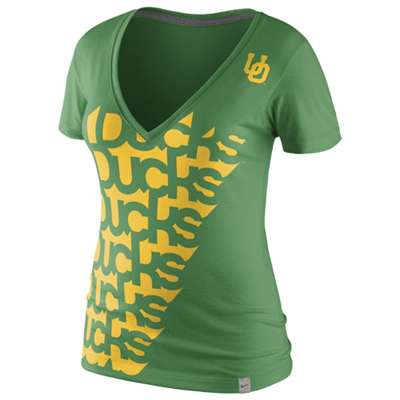 Nike Oregon Ducks Womens Vault Tri-Blend Deep V T-Shirt
