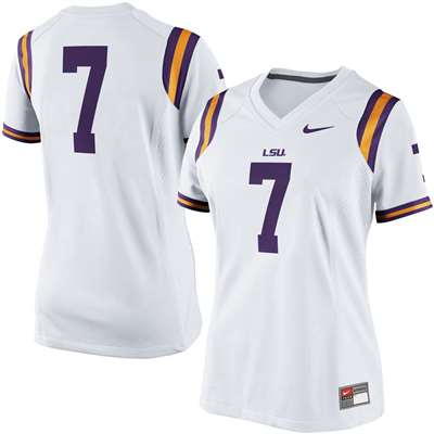 best service 2b592 11a71 Nike LSU Tigers Women's Replica Football Jersey - #7 White