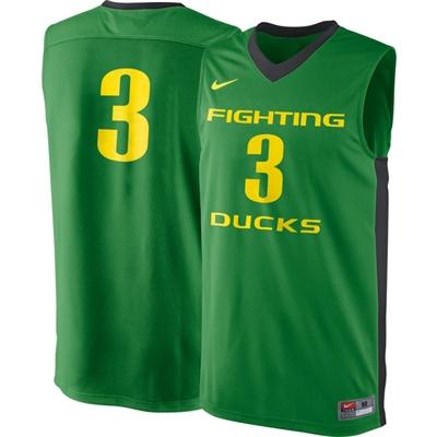 pretty nice 5b61a 2e6d1 Nike Oregon Ducks Authentic Replica Basketball Jersey - #3 Apple Green