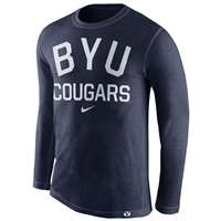 Nike BYU Cougars Tri-Blend Long Sleeve Conviction Crew Shirt