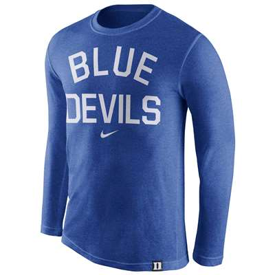 ecc000fc235 Nike Duke Blue Devils Tri-Blend Long Sleeve Conviction Crew Shirt