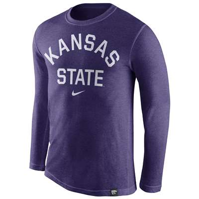 Nike Kansas State Wildcats Tri-Blend Long Sleeve Conviction Crew Shirt