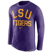 Nike LSU Tigers Tri-Blend Long Sleeve Conviction Crew Shirt