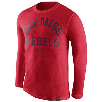Nike Mississippi Ole Miss Rebels Tri-Blend Long Sleeve Conviction Crew Shirt