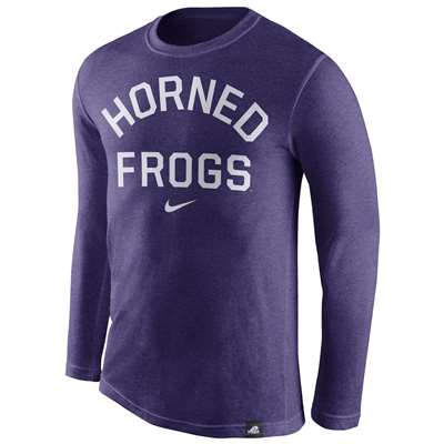 Nike TCU Horned Frogs Tri-Blend Long Sleeve Conviction Crew Shirt