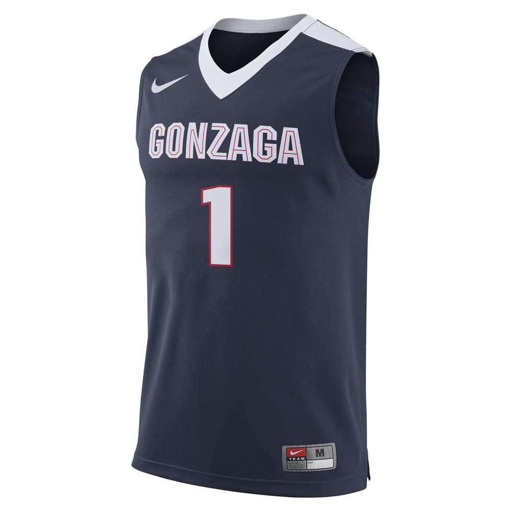 9aae19b3d84 Nike Gonzaga Bulldogs Replica Basketball Jersey - #1 - Navy