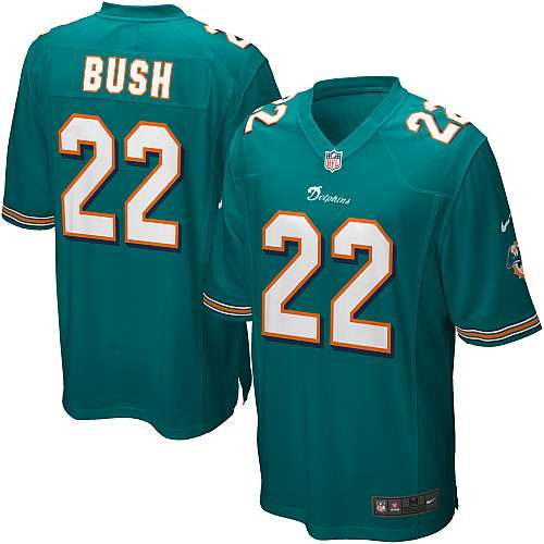 newest 7e130 d3adc Nike Miami Dolphins Reggie Bush Game Jersey - Aqua Green #22