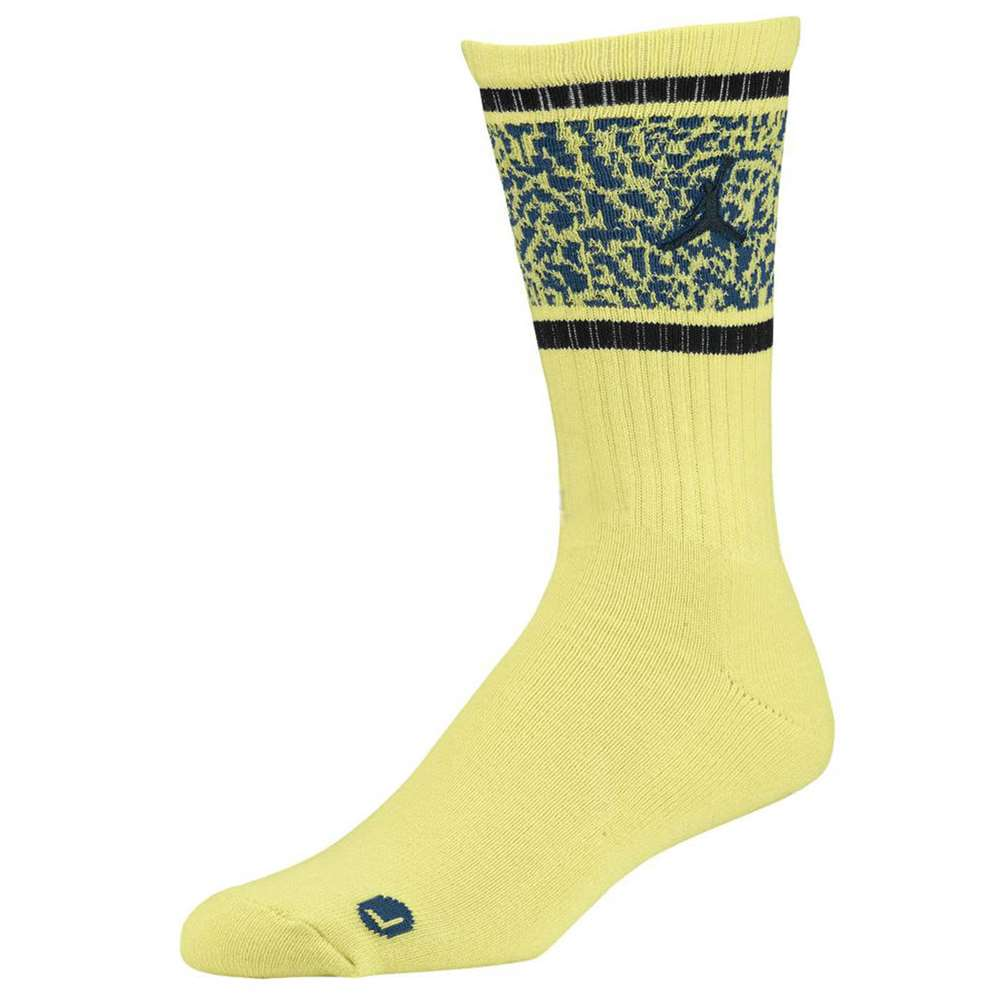 0db5b4762683a0 Air Jordan Striped Elephant Print Crew Socks - Electric Yellow Black