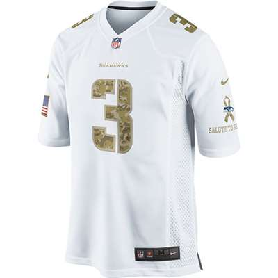 "Nike Seattle Seahawks Russell Wilson Camo ""Salute to Service"" Special Edition Game Jersey - White #3"