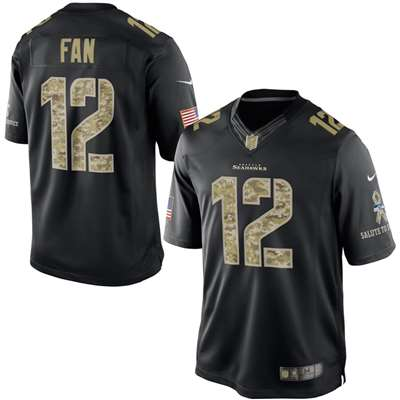 Nike Seattle Seahawks 12th Fan Salute to Service Special Edition Game Jersey - Black #12