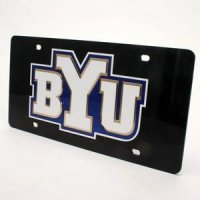 Brigham Young Inlaid Acrylic License Plate - Black Background