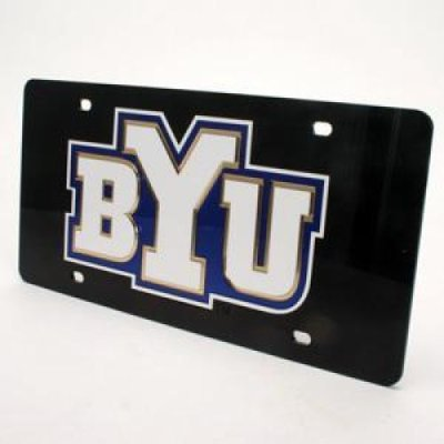 Brigham Young Inlaid Acrylic License Plate Black Background
