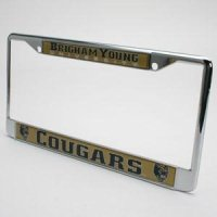 Brigham Young Metal License Plate Frame W/domed Insert - Gold Background