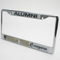 Brigham Young Alumni Metal License Plate Frame W/domed Insert - White Background