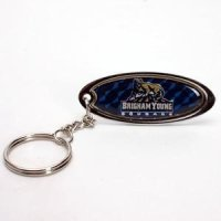Brigham Young Metal Key Chain W/domed Insert - Blue Background