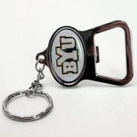 Brigham Young Metal Key Chain And Bottle Opener W/domed Insert - White Background