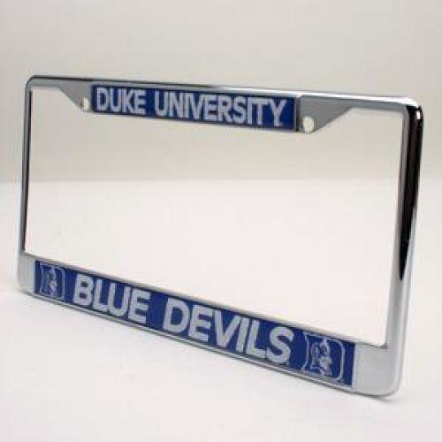 Duke Metal License Plate Frame W/domed Insert - Blue Background