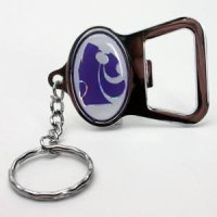 Kansas State Metal Key Chain And Bottle Opener W/domed Insert - White Background