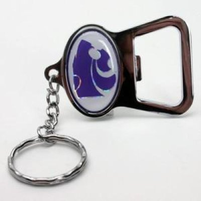 Kansas State Metal Key Chain And Bottle Opener W Domed Insert White Background