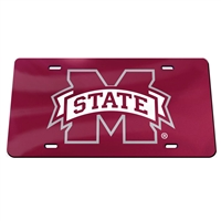 Mississippi State Inlaid Acrylic License Plate - Red Mirror Background