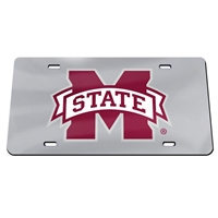 Mississippi State Inlaid Acrylic License Plate - Silver Mirror Background