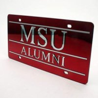Mississippi State Alumni Inlaid Acrylic License Plate - Red Mirror Background