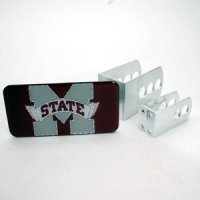 Mississippi State Universal Hitch Receiver W/domed Emblem -red Background