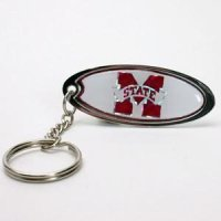 Mississippi State Metal Key Chain W/domed Insert - Red Background