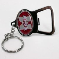 Mississippi State Metal Key Chain And Bottle Opener W/domed Insert - Red Background