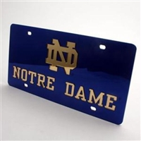 Notre Dame Inlaid Acrylic License Plate - Blue Mirror Background