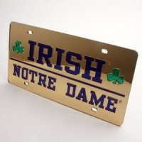 Notre Dame Inlaid Acrylic License Plate - Gold Mirror Background