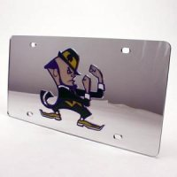 Notre Dame Inlaid Acrylic License Plate - Silver Mirror Background