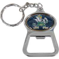 Notre Dame Metal Key Chain And Bottle Opener W/domed Insert - Blue Background