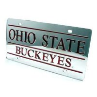 Ohio State Inlaid Acrylic License Plate - Silver Mirror Background