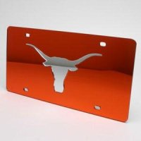 Texas Inlaid Acrylic License Plate - Orange Mirror Background