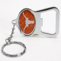 Texas Metal Key Chain And Bottle Opener W/domed Insert - Orange Background