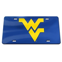 West Virginia Inlaid Acrylic License Plate - Blue Mirror Background