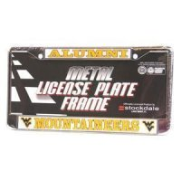 West Virginia Mountaineers Alumni Metal License Plate Frame W/domed Insert - White Background