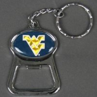 West Virginia Metal Key Chain And Bottle Opener W/domed Insert - Blue Background