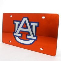 Auburn Inlaid Acrylic License Plate - Orange